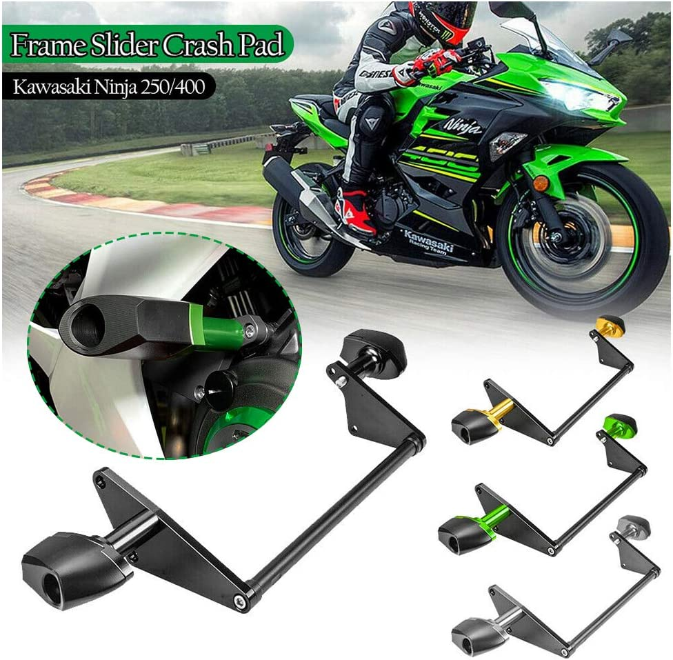 FATExpress Frame Sliders for Kawasaki Ninja 400 250 Motorcycle Crash Falling Protector Engine Guard Protection 2018 2019 2020 Ninja400 Ninja250 Ninja-400 Ninja-250 Accessories (Black)
