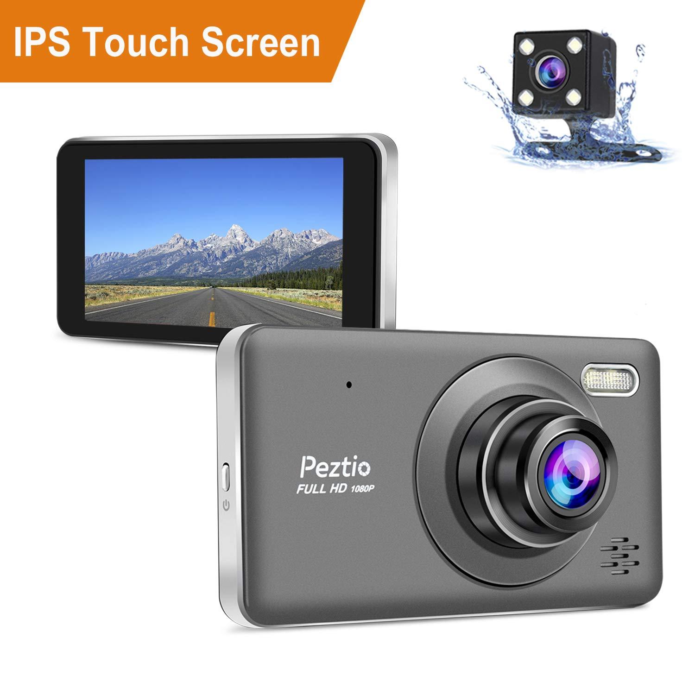 10,2 cm Touchscreen Park-Monitor Dual Dashcam Front- und Heckkamera Full HD 1080P Auto Armaturenbrett Kamera mit Nachtsicht Loop-Aufnahme G-Sensor 170/° Weitwinkel Bewegungserkennung
