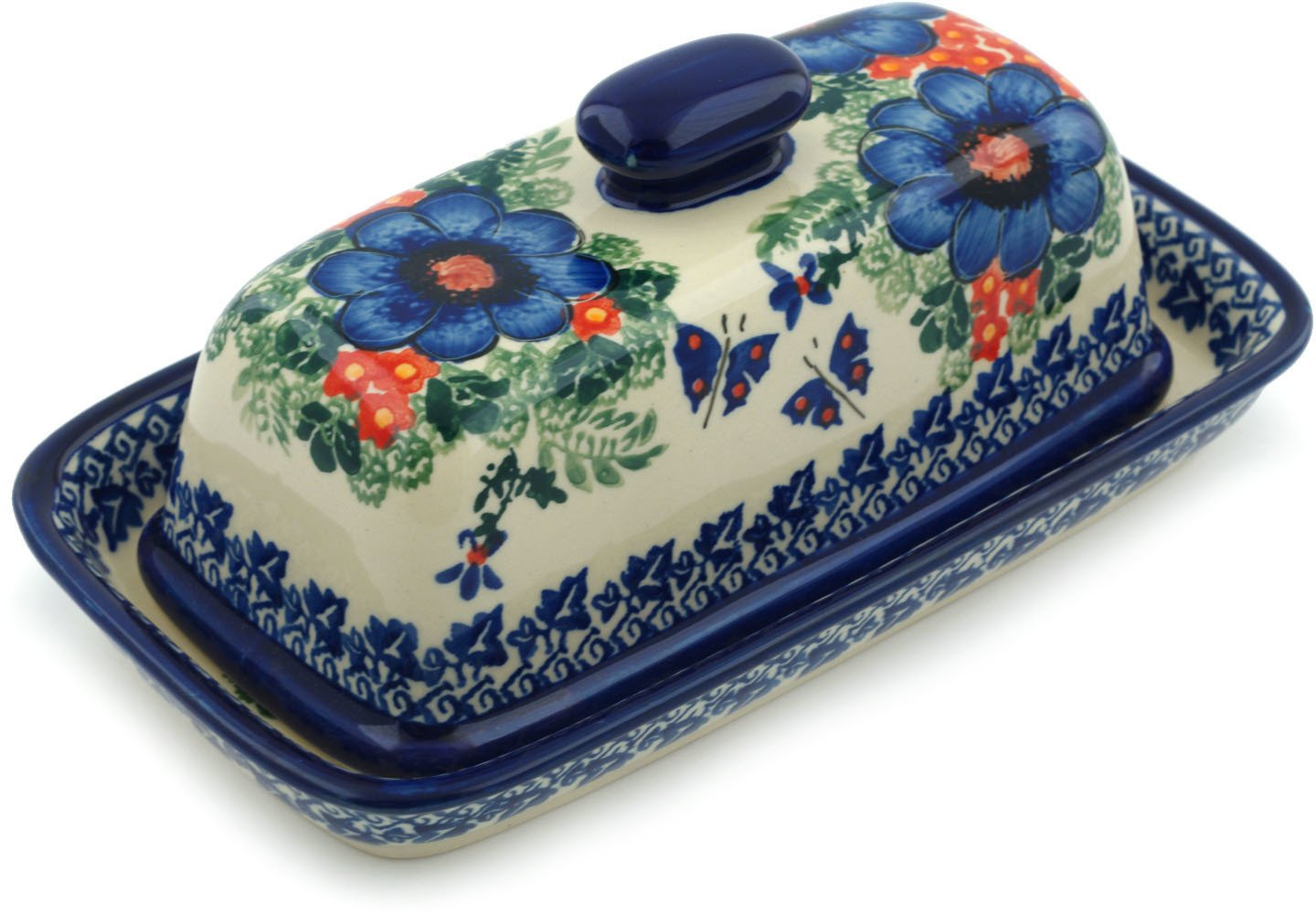Polish Pottery Butter Dish 8-inch Enchanted Beauty UNIKAT