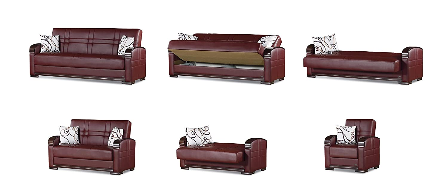 BEYAN Manhattan Collection Modern Living Room Convertible Folding Sofa Bed with Storage Space, Includes 2 Pillows, Burgundy