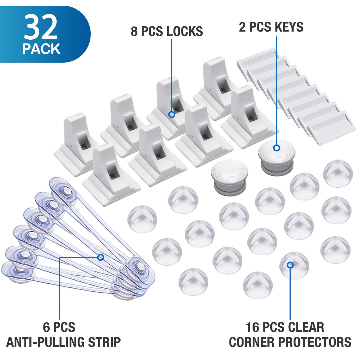 Baby Proofing Kit, 32 Pcs Child Safety Cupboard Locks - 8 Cupboard Locks+2 Keys, 16 Corner Protectors, 6 Baby Safety Cupboard Straps, No Drill Required- Best Baby Safety Set AU Uion