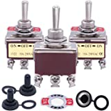 3pcs Univeral Heavy Duty 20A 125V DPDT 6 Terminal ON/Off/ON Rocker Toggle Switch Metal + 3pcs Waterproof Cover Ten-1322