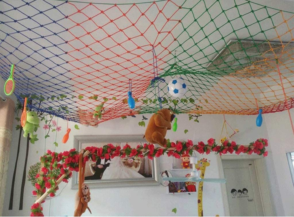 WWWANG Green child protection net garden ceilings stair balcony anti-fall net climbing nylon net color decorative net wear-resistant anti-corrosion applies to stairs balconies suspension bridges