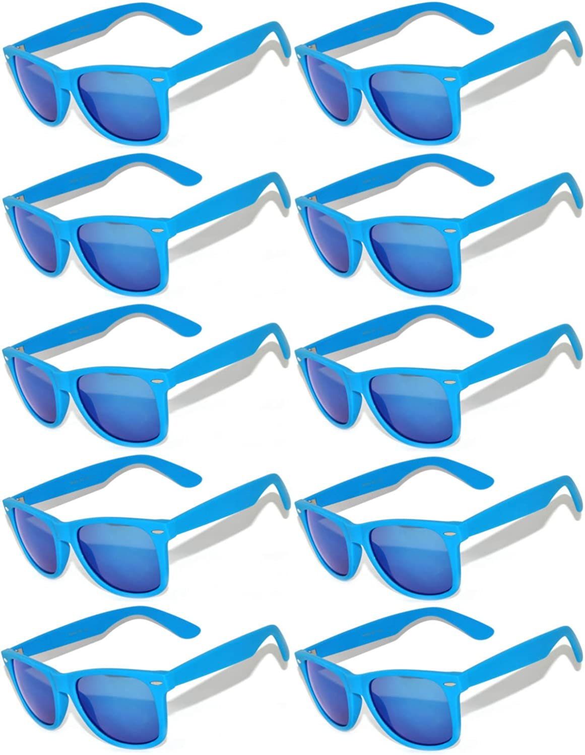 Vintage Mirrored Lens Sunglasses Matte Frame 10 Pack in Multiple Colors OWL.