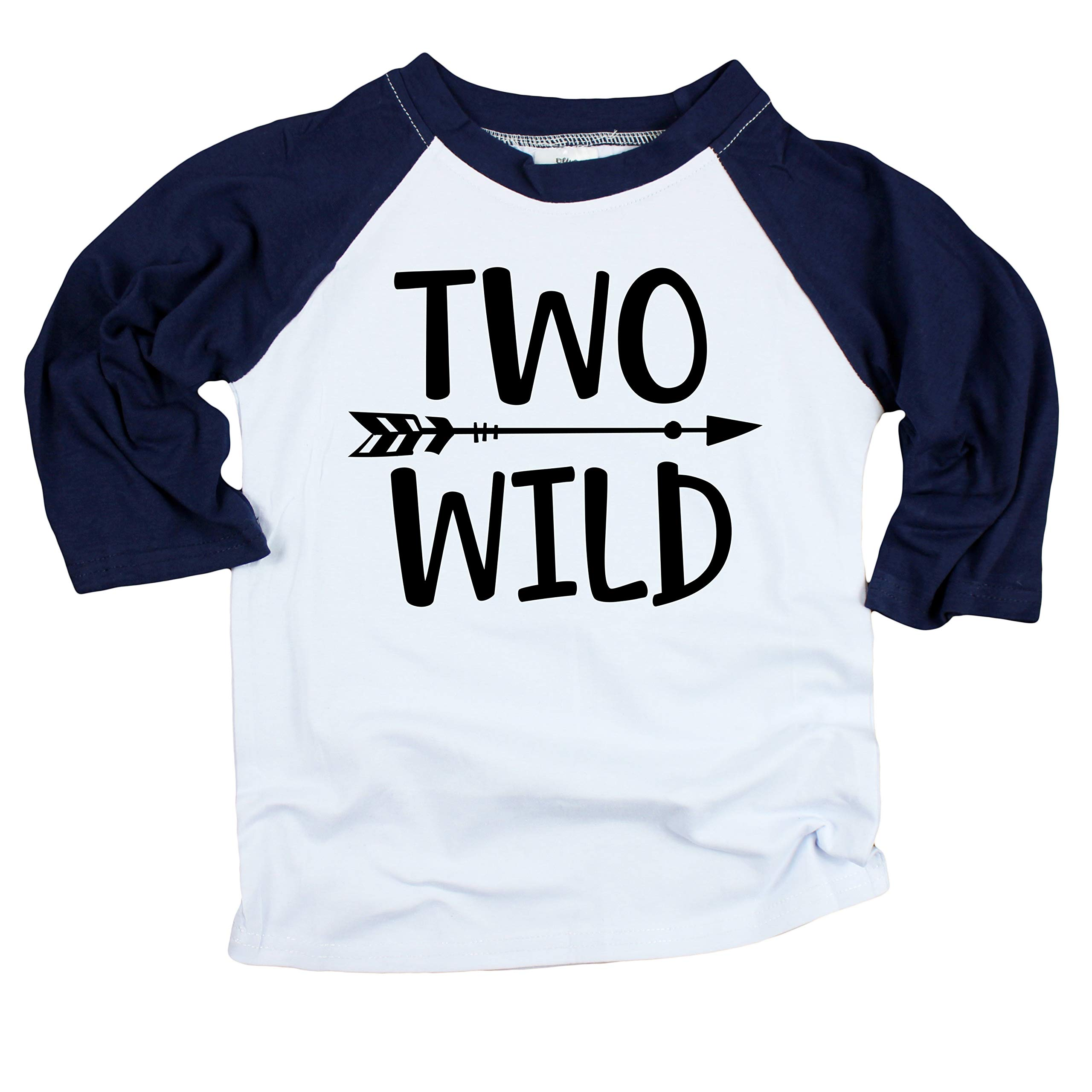 Olive Loves Apple Two Wild 2nd Birthday Shirt For Toddler Boys Boy 3 4 SleeveNavy Sleeve Raglan3T