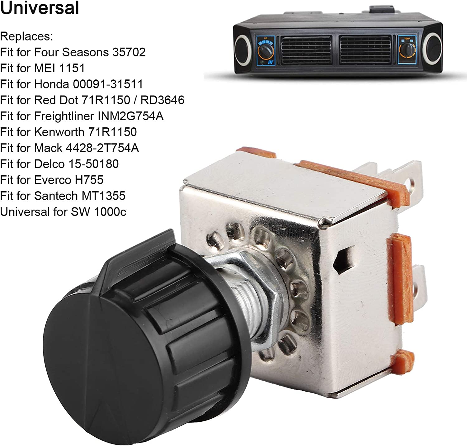 zhuolong Universal AC 3 Speed Blower Switch Air Conditioning Volume Control Rotating W//Plastic Knob
