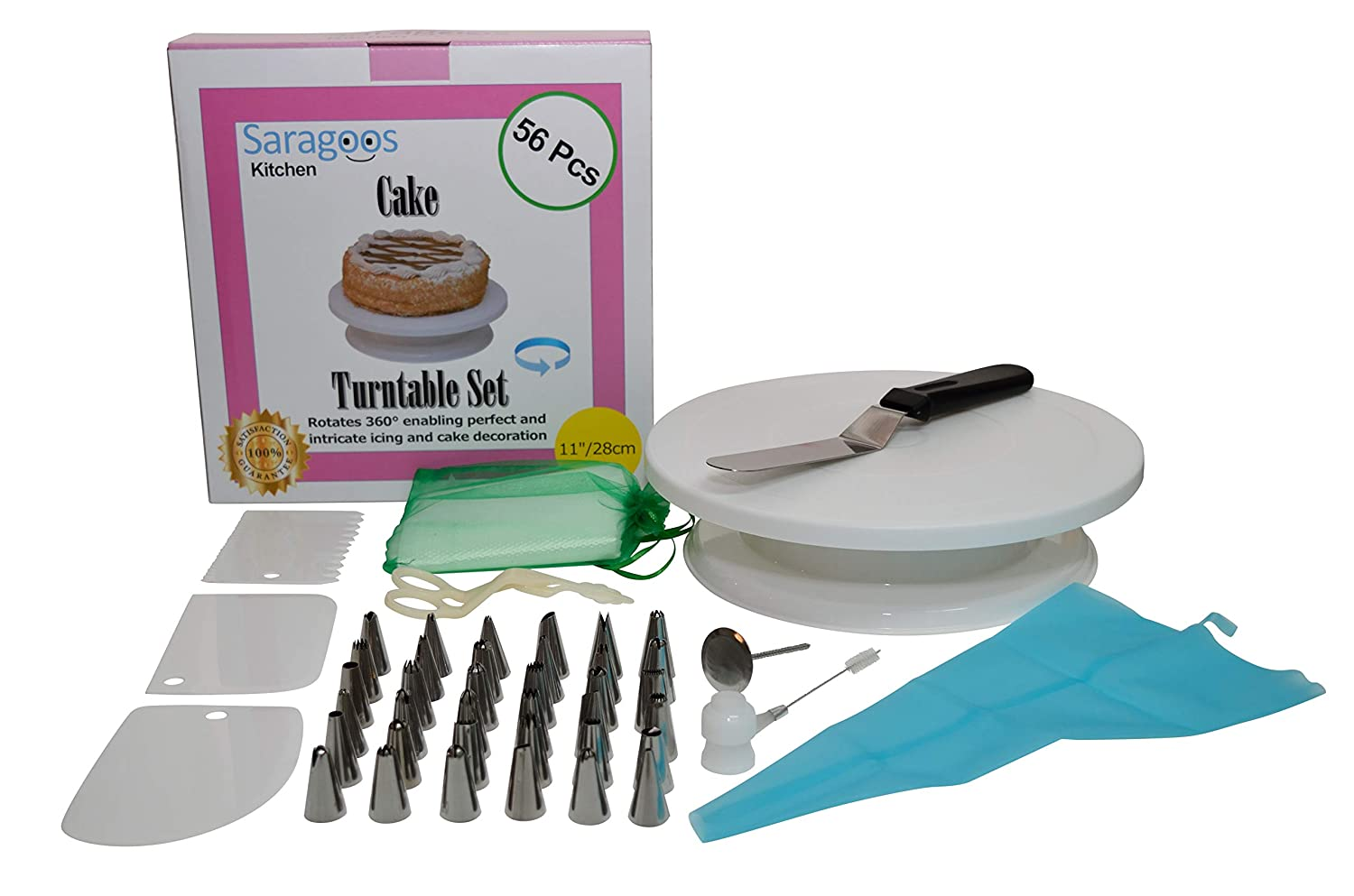 56 pcs Cake Decorating Supplies Turntable Set, with 11'' Smooth Rotating Turntable Stand, 36 stainless steel numbered tips, Pastry Bag, 10 Disposable Bags, BONUS - 3 Cake Scraper and Icing Spatula Saragoos