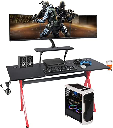 LAZZO 57 Multifunction Computer Gaming Desk,Stylish Home Office Desk with Carbon Fiber Surface, X Type Music Gamer Workstation with Monitor Stand, Mouse Pad, Cup Holder, Headphone Hook, Red Black