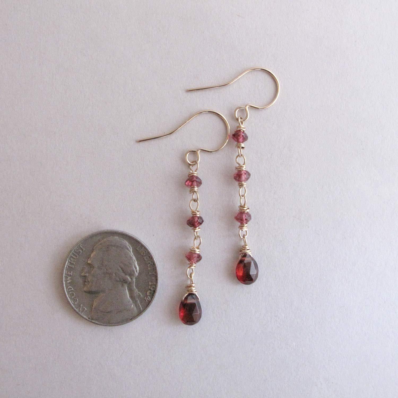January Birthstone Gift Genuine Garnet Long Dangle Earrings Dainty Red Gemstone 14k Gold Filled