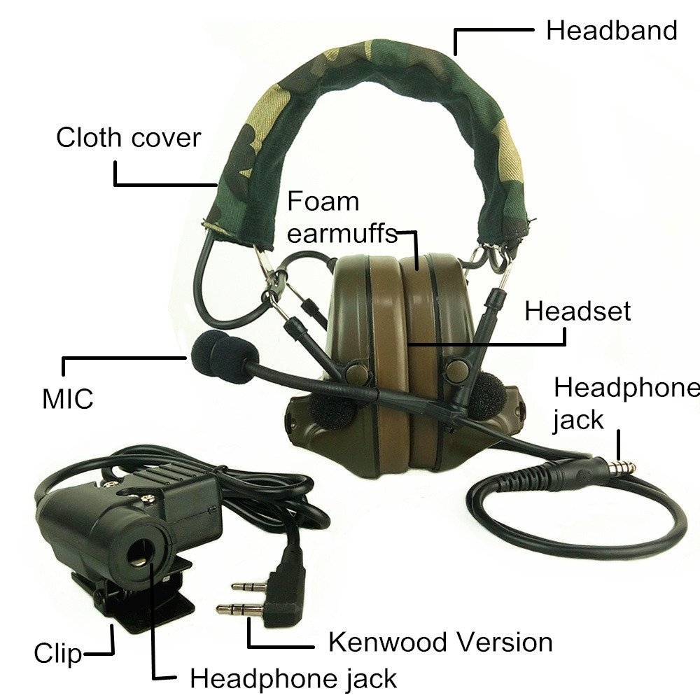 Z-TAC Tactical Headphone U94 Headset PTT Military Radio for Kenwood 2 Pin Black