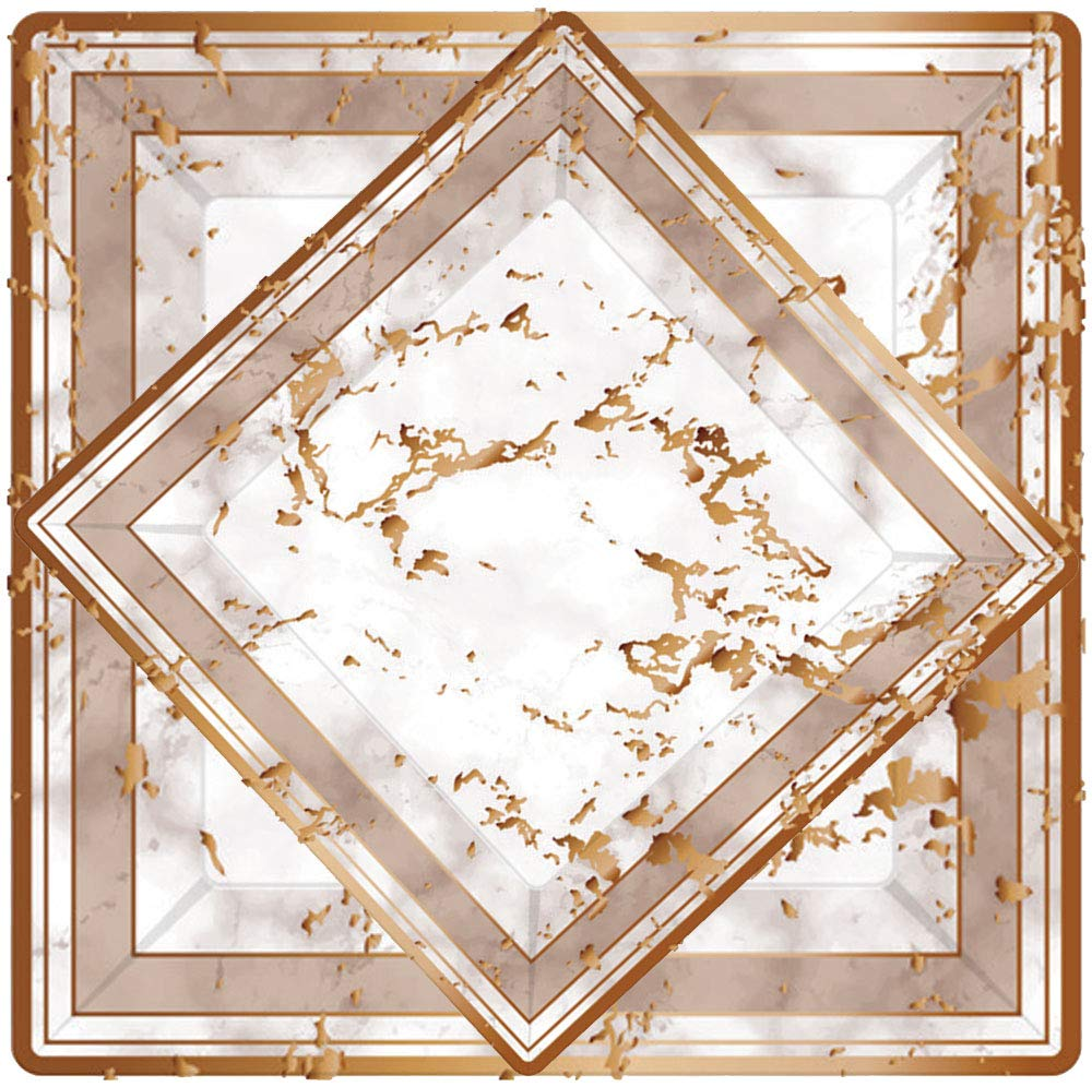 Tiger Chef 100-Pack Marble Design Color Heavy Duty Disposable Party Supplies Set for 50 Guests, Includes 50 10-Inch Dinner Plates, 50 7-Inch Square Paper Plates - BPA-Free (Rose Gold, 100)