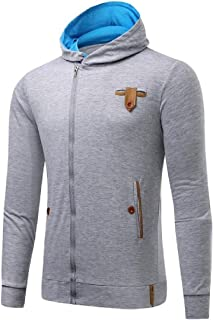 Yayu Men Autumn Chic Zipper Long Sleeve Hoodies Hooded Sweatshirt