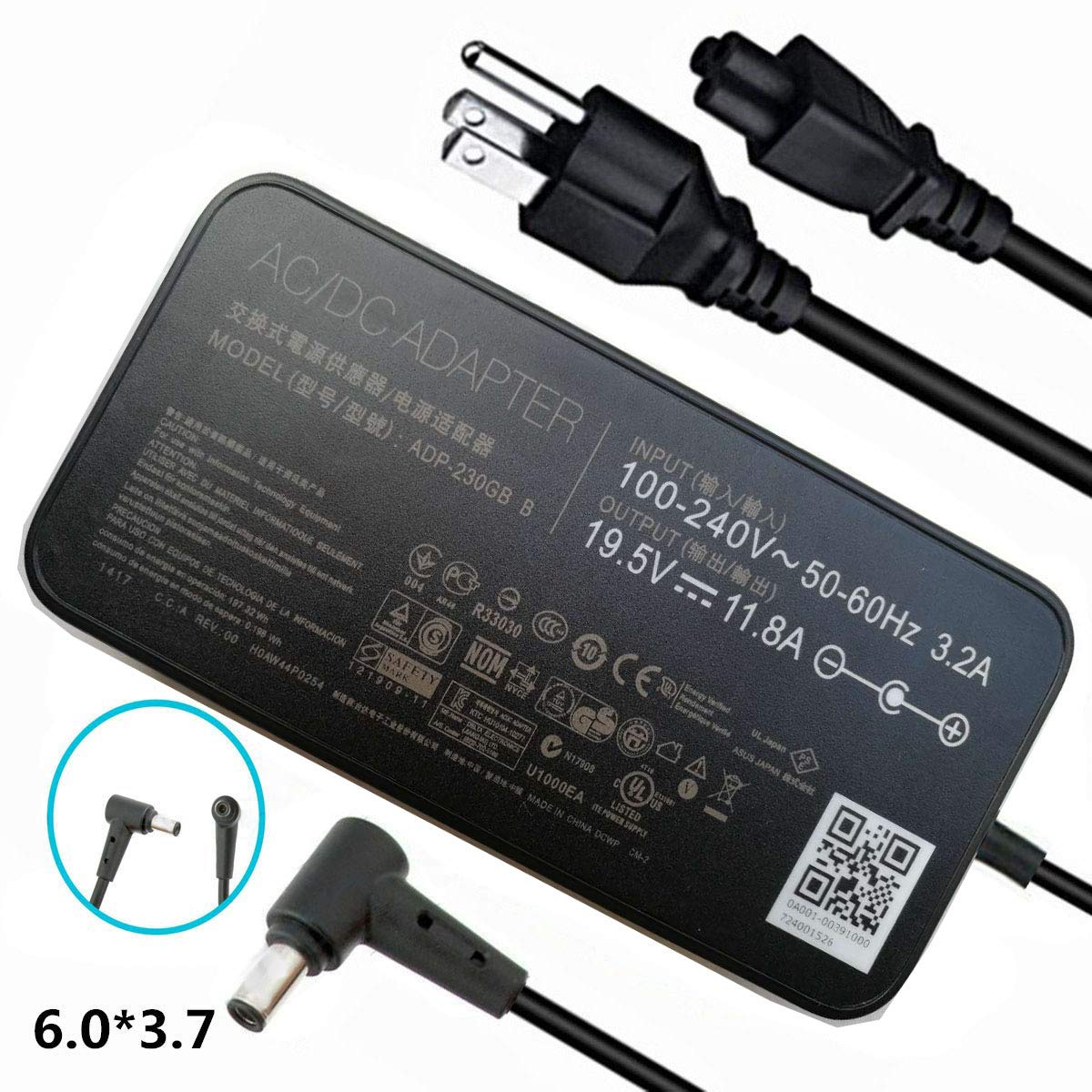 19.5V 11.8A 230W Extra Long 14Ft AC-Adapter-Charger for Asus ROG Zephyrus GM501GS GX501 GX501V GX501VI GX501VI-XS75 GX501VI-XS74 GX501VI-GZ027T ADP-230GB B Laptop Power-Supply Cord