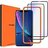 【ブルーライトカット】Zover iPhoneXR 用 全面保護 ガラスフィルム 液晶強化ガラス 【フルカバー】【ガイド枠付き】3D Touch対応/硬度9H/高透過率/自動吸着 (iPhone XR 用)