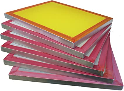 20 x 24 Inch Pre-Stretched Aluminum Silk Screen Printing Frames with 305 Yellow Mesh 6 Pack Screens