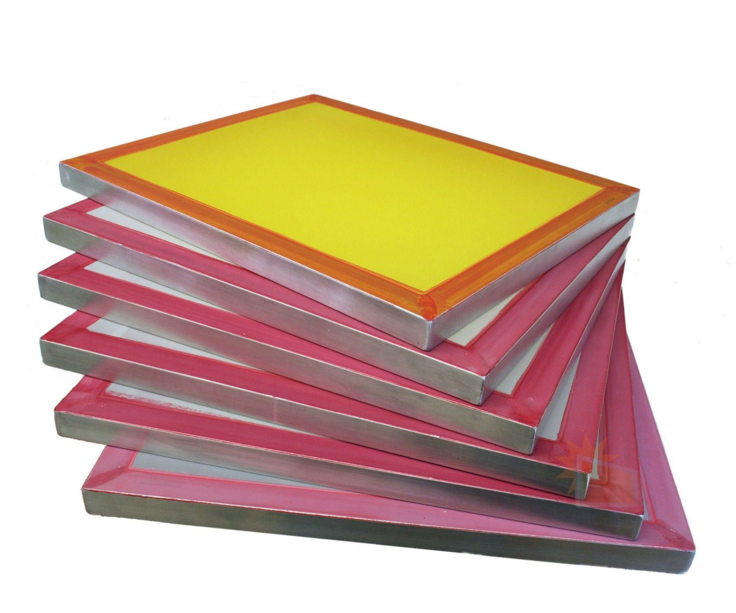 Screen Printing Frames, 6-pack 18''x20'' Pre-stretched with 196 tpi Yellow Silkscreen Mesh, by MSJ Screens