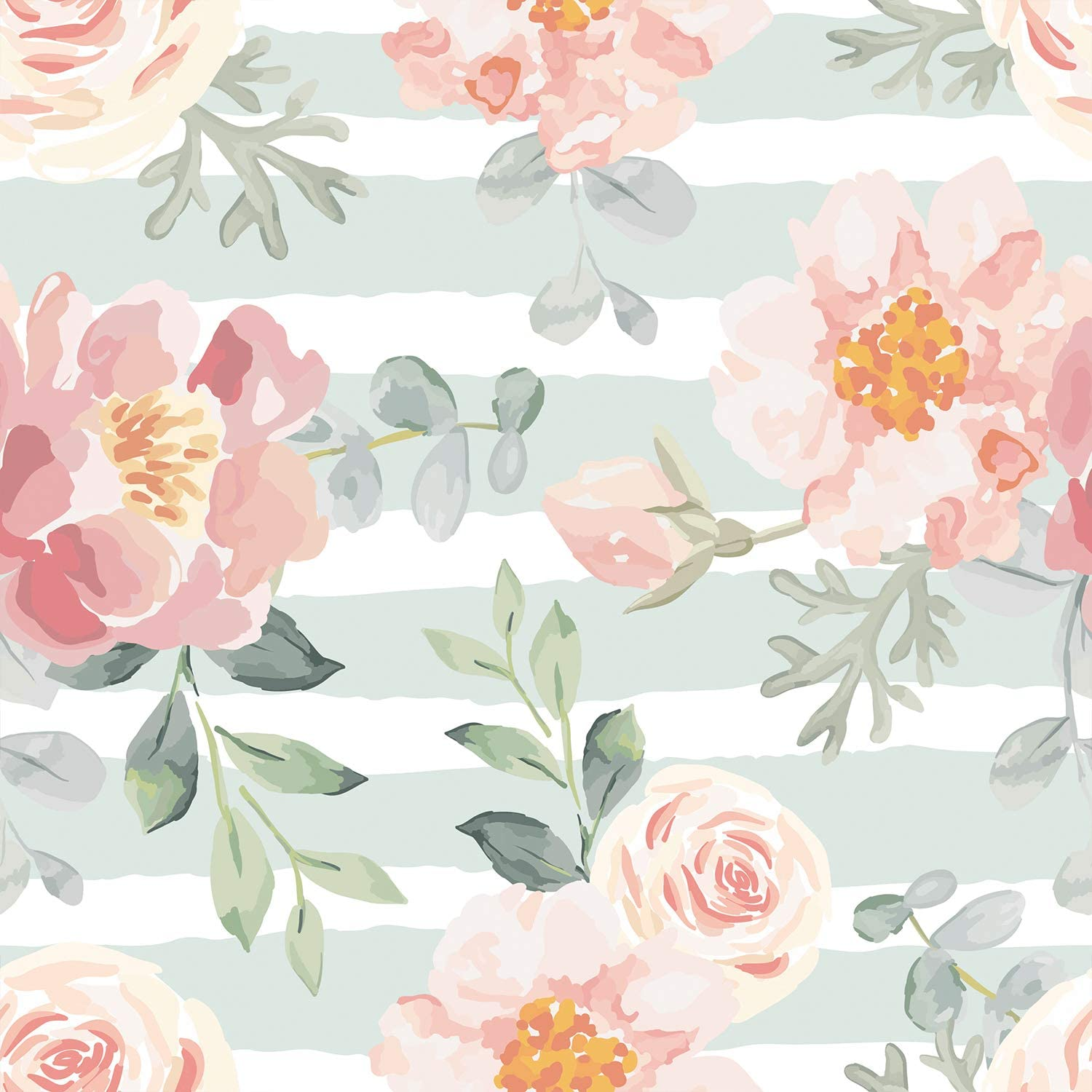 Amazing Wall Summer Water Color Floral Pattern Peel And Stick Self Adhesive Wallpaper 15 7x198inch Amazon Com