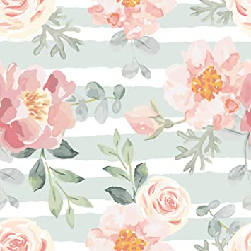 Peel-and-Stick Removable Wallpaper Flower Floral Spring Watercolor Watercolour