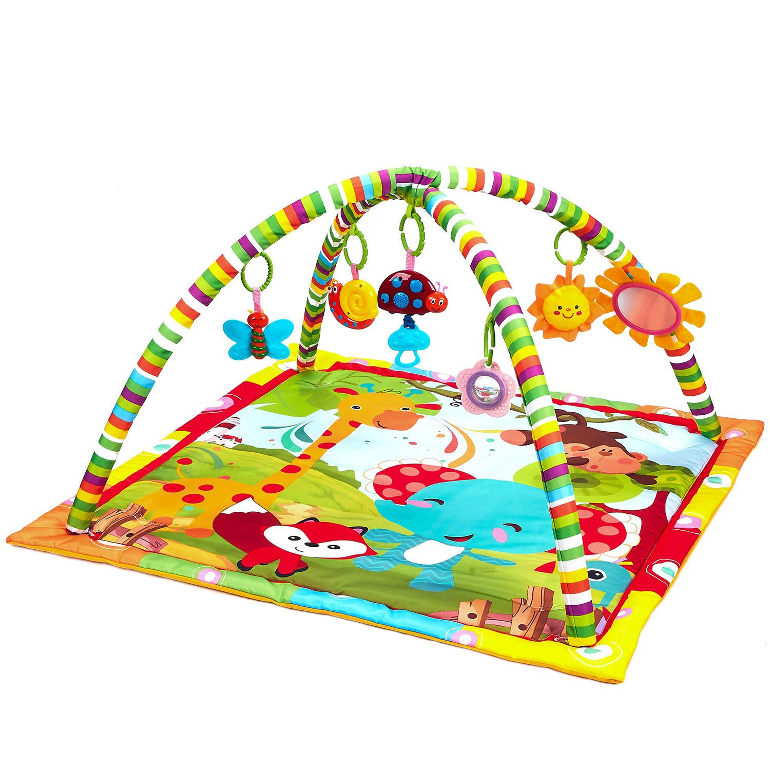 Play Gym New Born Baby Playmat Musical Activity Gym,Soft Toy Fun Animals,Music,Textures,Rattle,Teethers Discovery Carpet for Infants Toddlers Newborn Kick and Playmat 0-36 Months Mirror