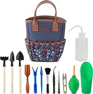 G GOOD GAIN Garden Succulent Kit with Organizer Bag, Indoor Mini Hand Gardening Tool Set, 14 Pieces Tools for Bonsai Planter Miniature Fairy Planting Care.(Blue)