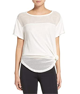 3046385340251a Free People Womens Hourglass Mesh Basic T-Shirt White M at Amazon Women's  Clothing store: