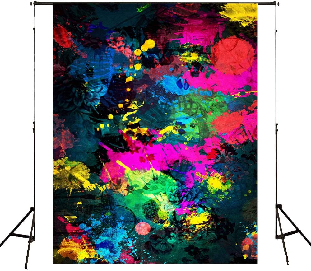 Abstract Art Paint Splash Photo Background 5X7 ft Colorful Paint Graffiti Photography Backdrop for Photo Studio Background Props Hip Hop Party Backdrops Camera Backdrop BT008