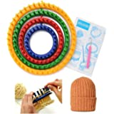 Round Knitting Looms Efly Set of 4 Different DIY Crochet Kits Tool Round Plastic Classical Quality Round Circle Hat Knifty Knitting Knit Looms For Kids and Adult