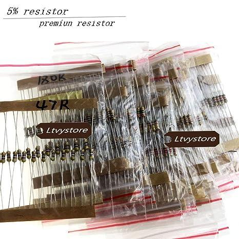 860pcs 1 ohm-1M OHM 1//4W Carbon Film Résistances Assortiment Kit 43 valeurs U8R3