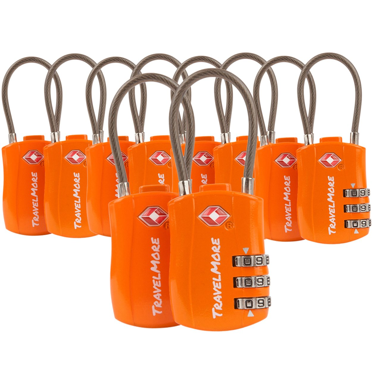TravelMore 10 Pack TSA Approved Travel Combination Cable Luggage Locks for Suitcases - Orange by TravelMore