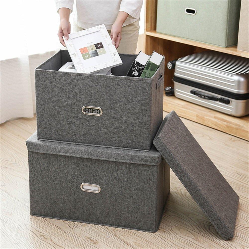 YAN Cubierto, caja caja caja de almacenamiento, tela, arte, plegable, ropa, caja de almacenamiento, algodón, y, lino, grande, caja de almacenamiento, con, mango (Color : 1, tamaño : Extra Large (50 34 30CM)) 1ff78d
