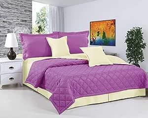 طقم لحاف مفرش سرير مضغوط لونين 4 قطع من هورس، مقاس مفرد