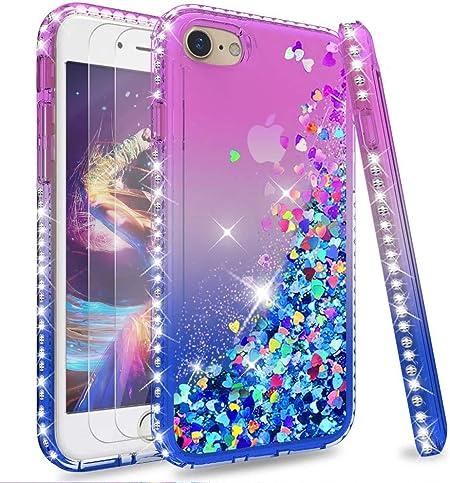 LeYi per Cover iPhone SE 2020,Cover iPhone 7/8 Glitter Custodia con Vetro Temperato [2 Pack],Brillantini Diamond Liquido Sabbie Mobili Bumper Case ...