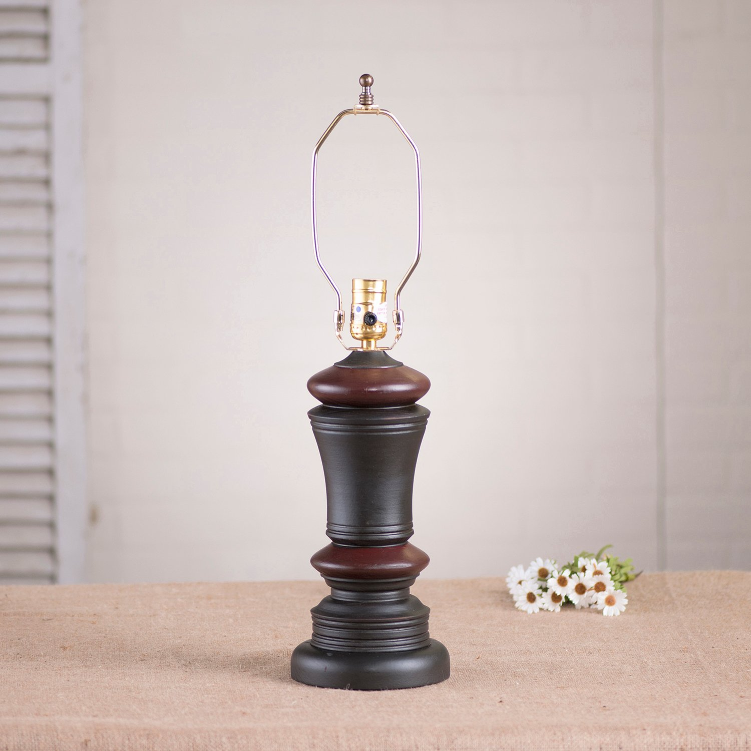 Peppermill Lamp Base in Sturbridge Black with Red