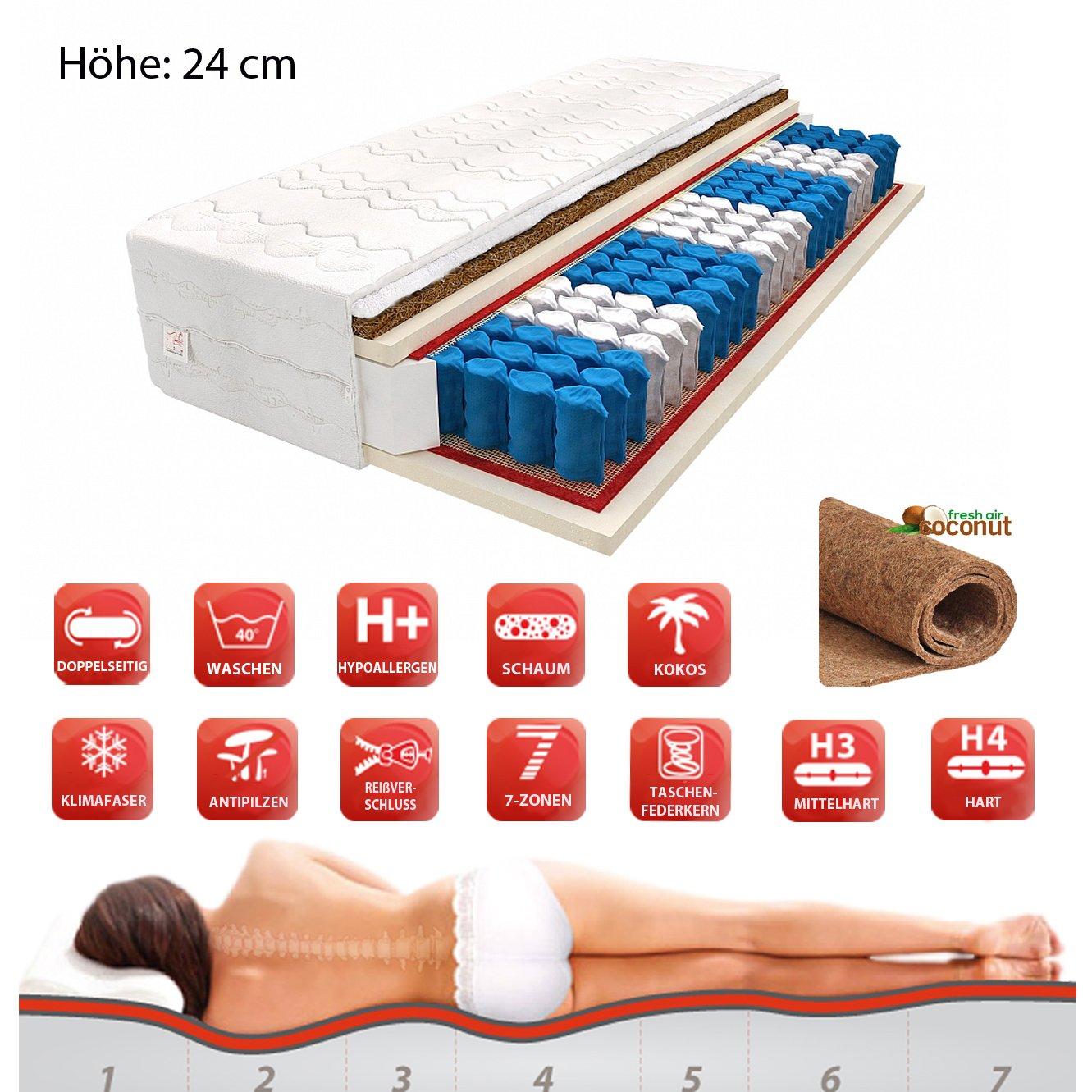 FDM MATRATZE 7 ZONEN 80x200 90x200 100x200 120x200 140x200 Premium TASCHENFEDERKERN KOKOS H3 H4 24 cm (140x200, Weiß)