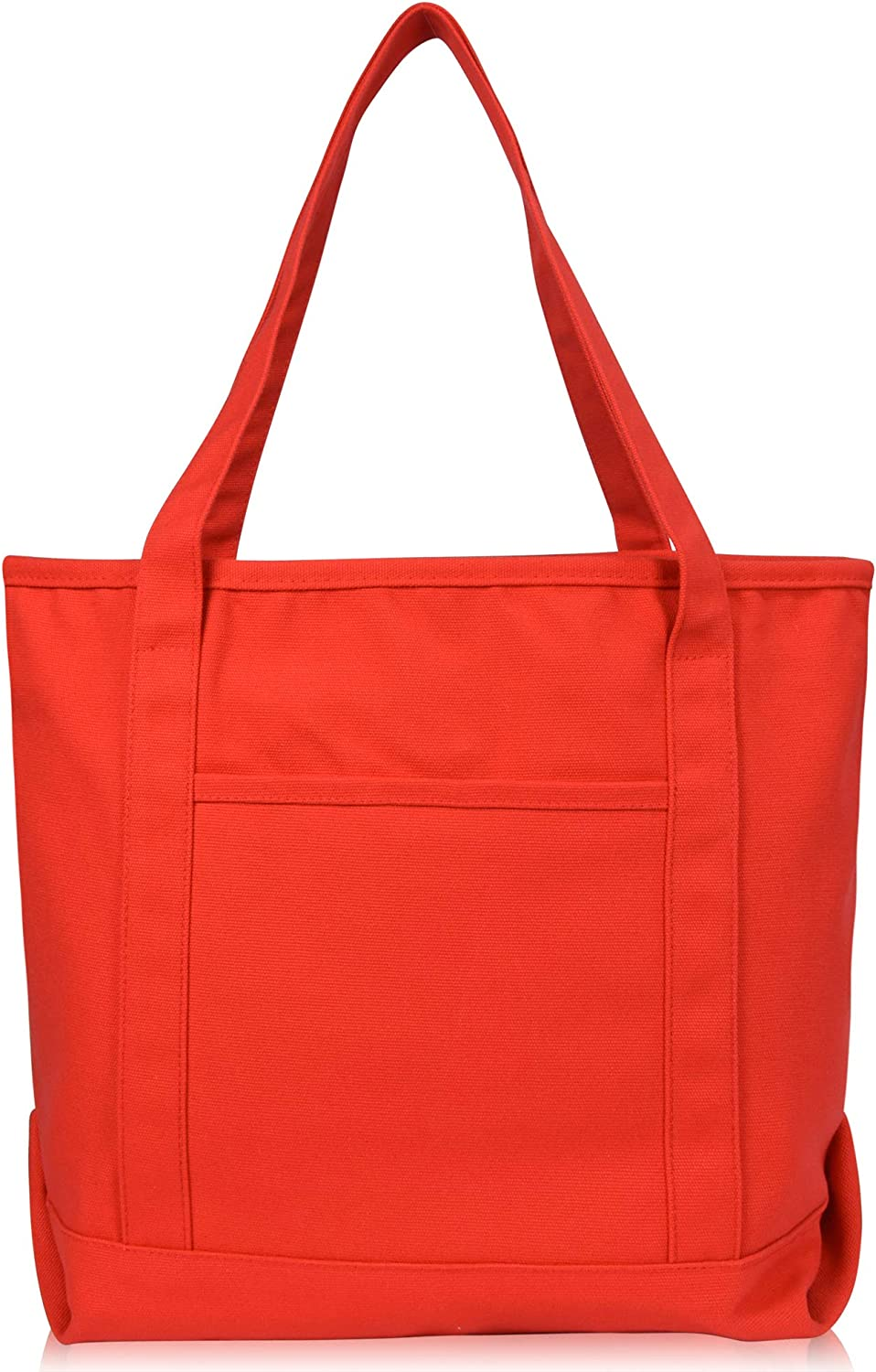 """DALIX 20"""" Solid Color Cotton Canvas Shopping Tote Bag in Red"""