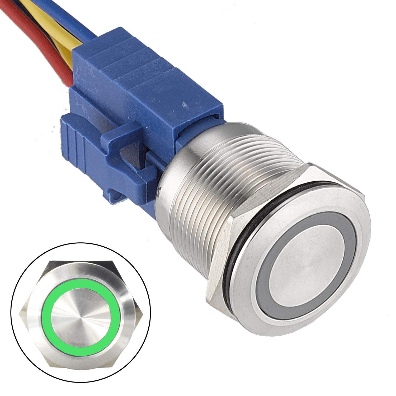 API-ELE [3 year warranty] 22mm Latching Push Button Switch 12V Angel Eye LED Waterproof Stainless Steel Round Metal Self-locking Latching 7/8'' 1NO 1NC (Green) r
