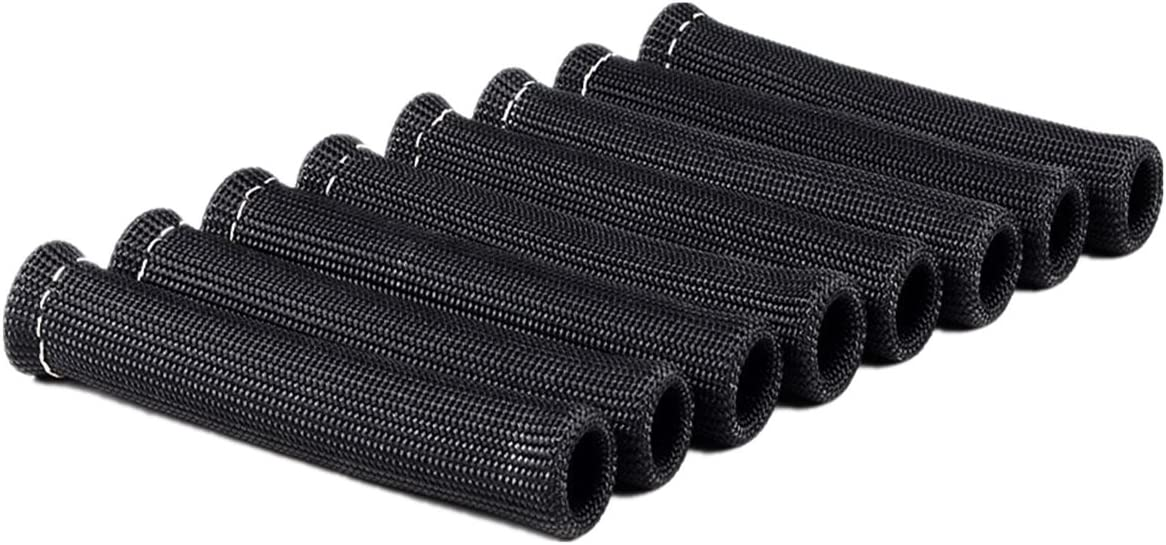 Amazingli 1600 Degree Spark Plug Protect Boot Heat Shield Thermal Protection Insulator 6 inch for Car Truck Black Pack of 8
