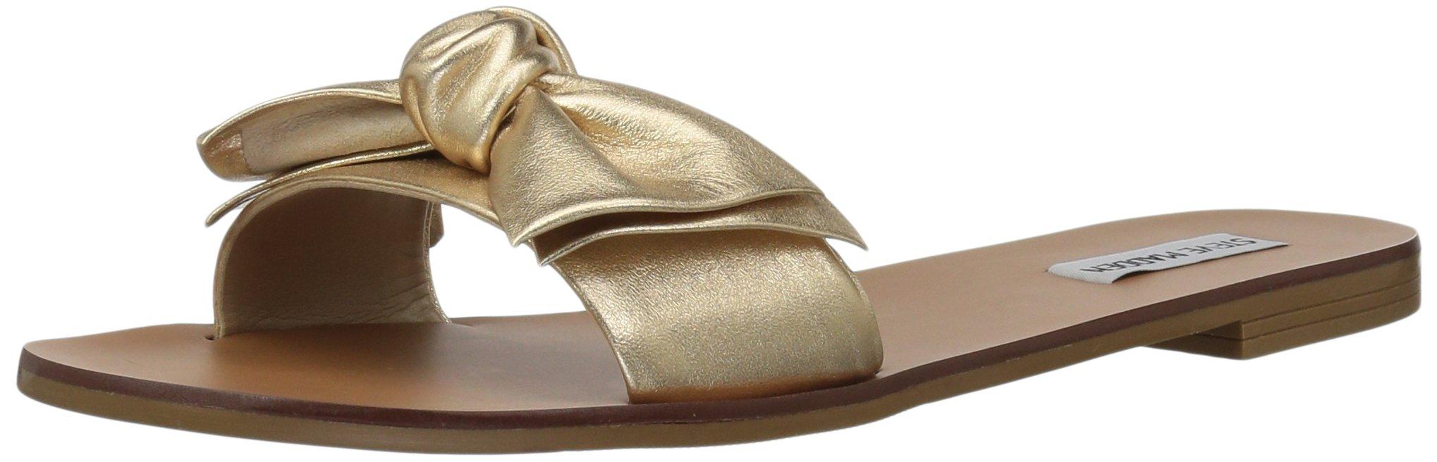 Steve Madden Women's Knotss Flat Sandal, Gold Leather, 7.5 M US