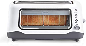 Dash Clear View Toaster, Defrost, Reheat + Auto Shut Off Feature For Bagels, Specialty Breads & Other Baked Goods, White