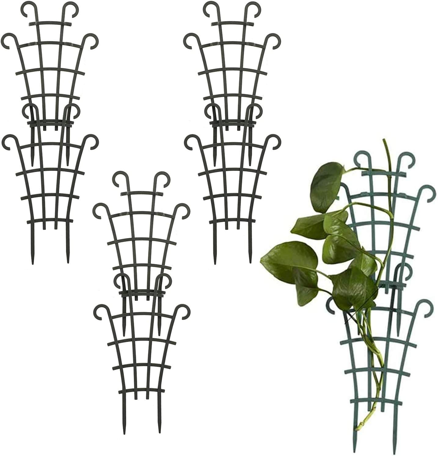 Develoo Mini Climbing Trellis, 6 Pcs Plastic Superimposed Potted Plant Support Rack Plant Climbing Trellis Garden Plant Stakes for Flower Vegetables Rose Vine Pea Ivy Cucumbers