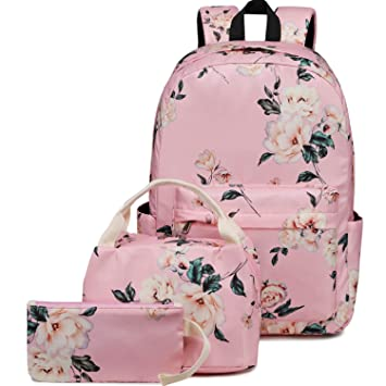 a7830e8d61d2 BLUBOON School Backpack Set Teen Girls Bookbags 15 inches Laptop Backpack  Kids Lunch Tote Bag Clutch Purse (E0066 Pink)