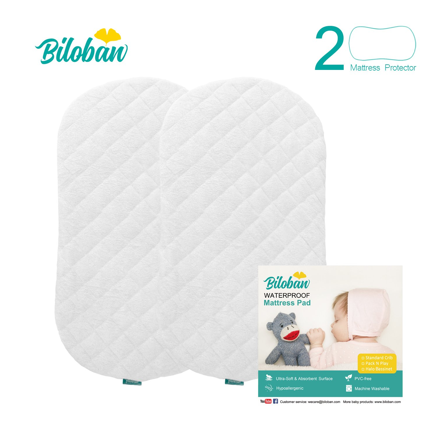 Bassinet Mattress Pad 2 Pack Bamboo Waterproof, Perfectly Fits for Halo Swivel Sleeper Bassinet Mattress,Quiet and Washer & Dryer Friendly Fitted Bassinet Sheet for Baby