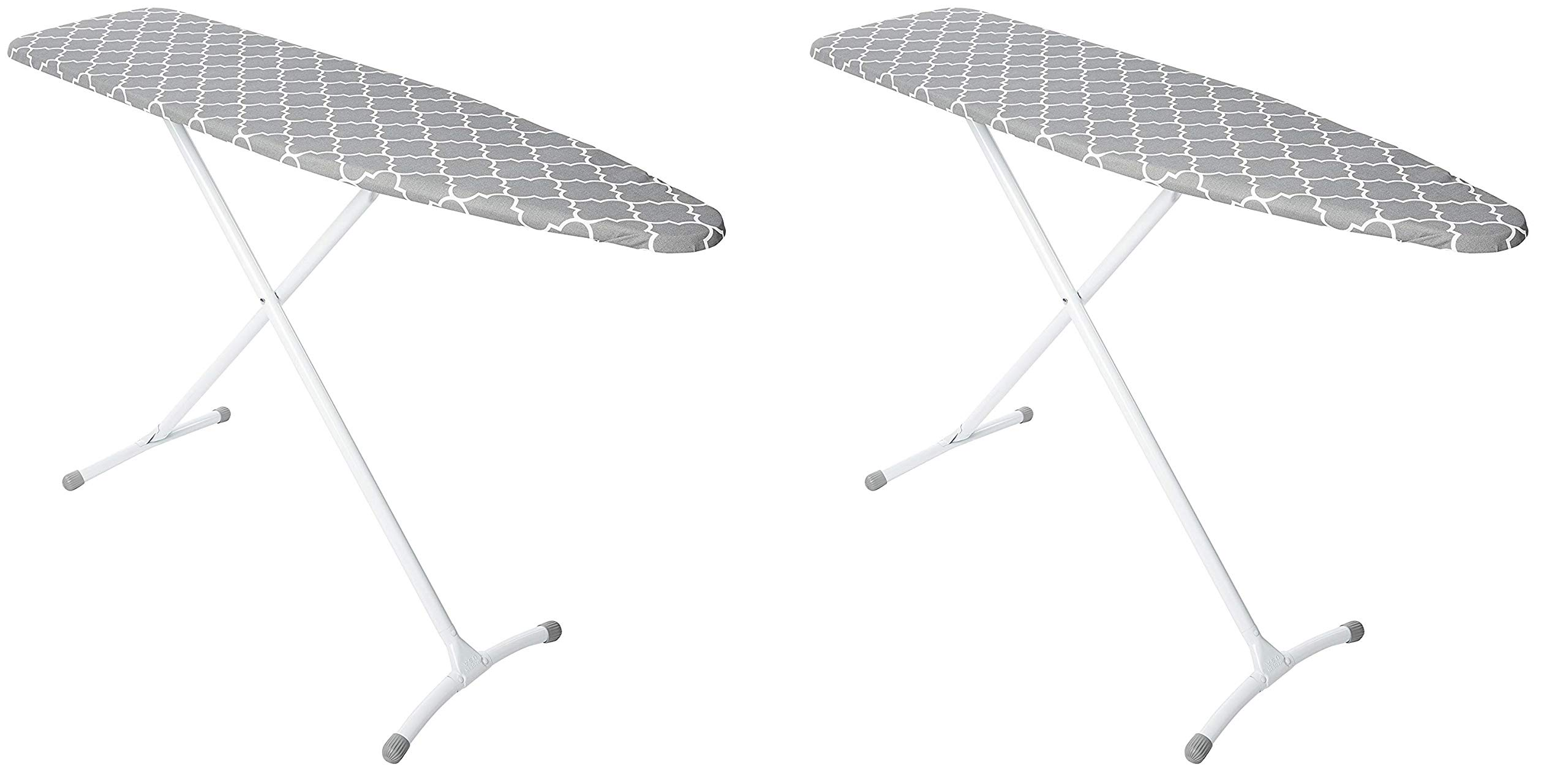Homz Contour Steel Top Ironing Board, Grey & White Filigree Cover (Pack of 2)