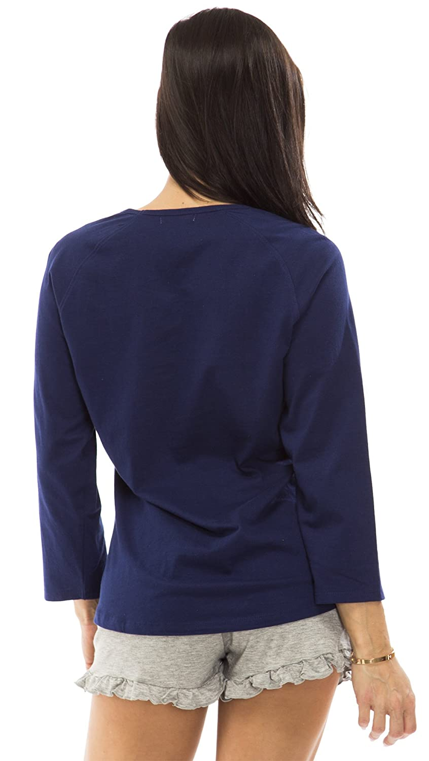 401 dollhouse 6007DH Womens 100/% Cotton Solid Jersey 3//4 Sleeve Ragan Top Size: Small In Navy