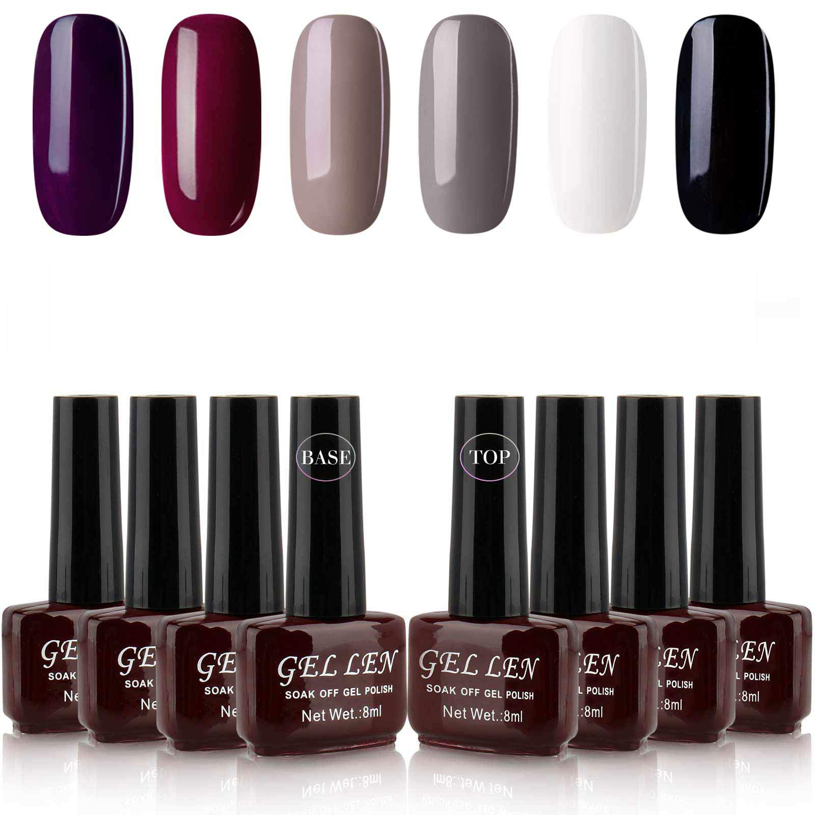Gellen Gel Nail Polish Kit Classic Elegance 6 Colors With Base Coat and Top Coat - Popular Home Nail Salon Trendy Glamour Colors Set by Gellen