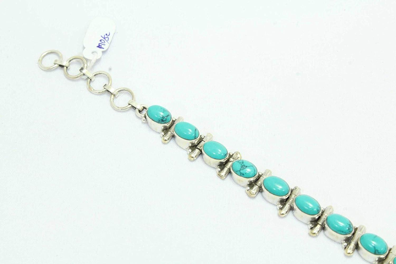 Rajasthan Gems 925 Sterling Silver Natural Blue Turquoise stone Bracelet 7.4 inch