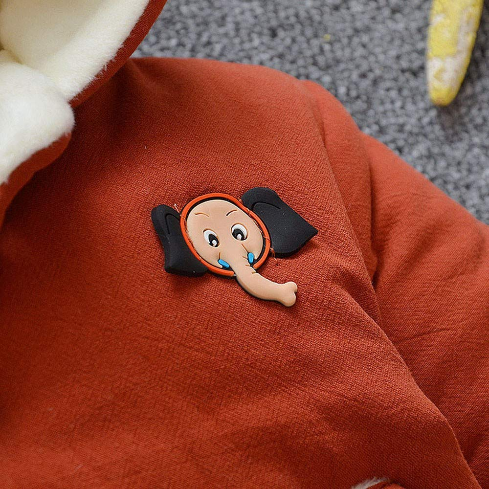 FORESTIME Toddler Baby Boys Girls Cartoon Elephant Solid Hooded Pockets Thick Warm Coat Cotton Jacket Snowsuit