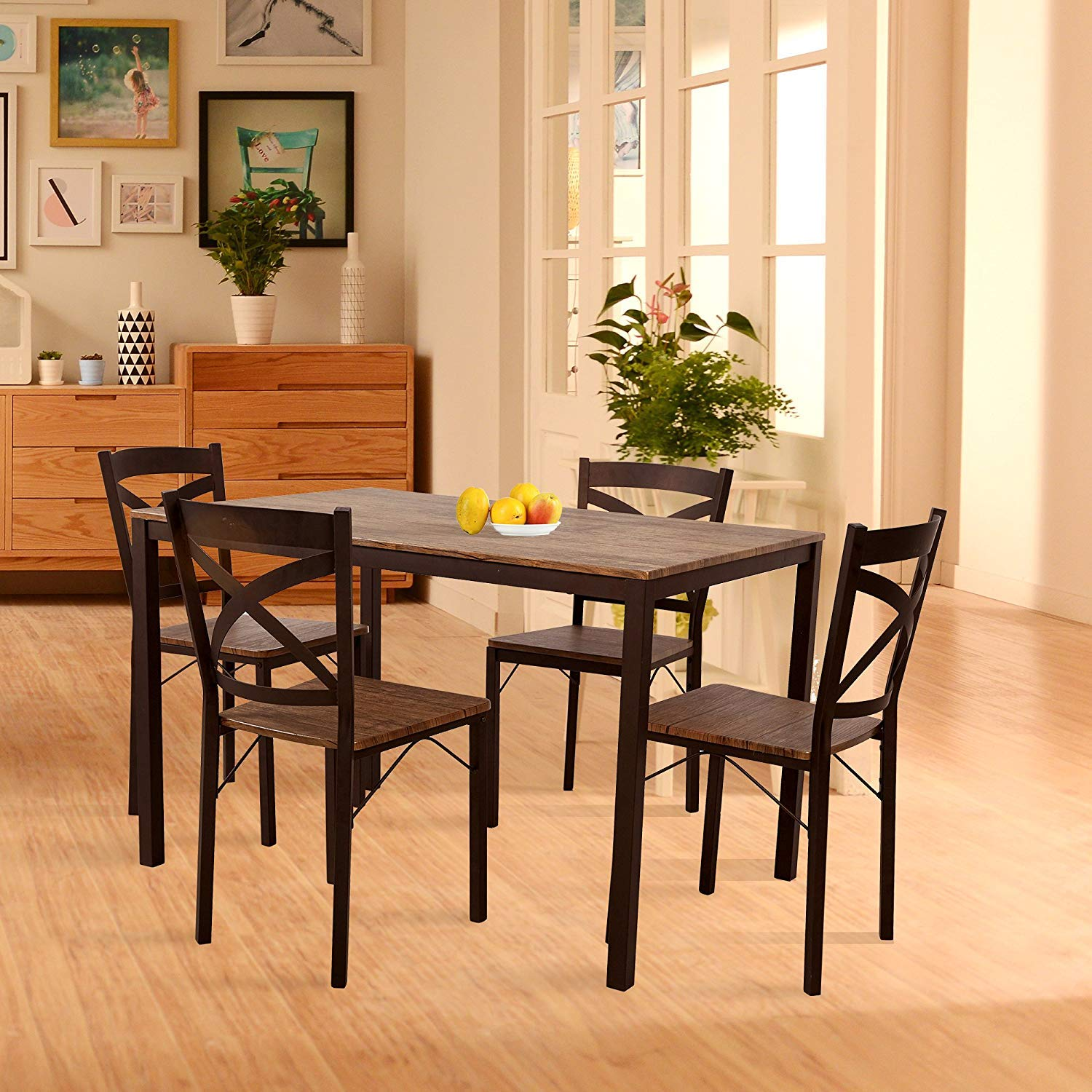 Dporticus 5-Piece Dining Set Industrial Style Wooden Kitchen Table and Chairs with Metal Legs- Espresso by Dporticus (Image #9)