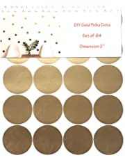 """{Pack of 64} 2"""" Vinyl Gold Polka Dots Wall Decal Stickers. Trendy, Metallic, Waterproof and Removable for the Nursery, Playroom, Bedroom, Living room Baby room or Windows."""