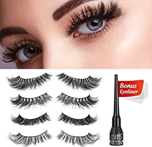 Proteove 3D Mink False Eyelashes Set – 4 Pairs Different & 100% Mink Hair Handmade Fake Lashes Extension for Party/Dating/Travel/Work Giveaway